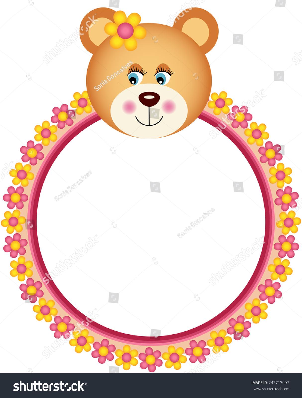 Teddy Bear Flower Frame Stock Vector 247713097 - Shutterstock