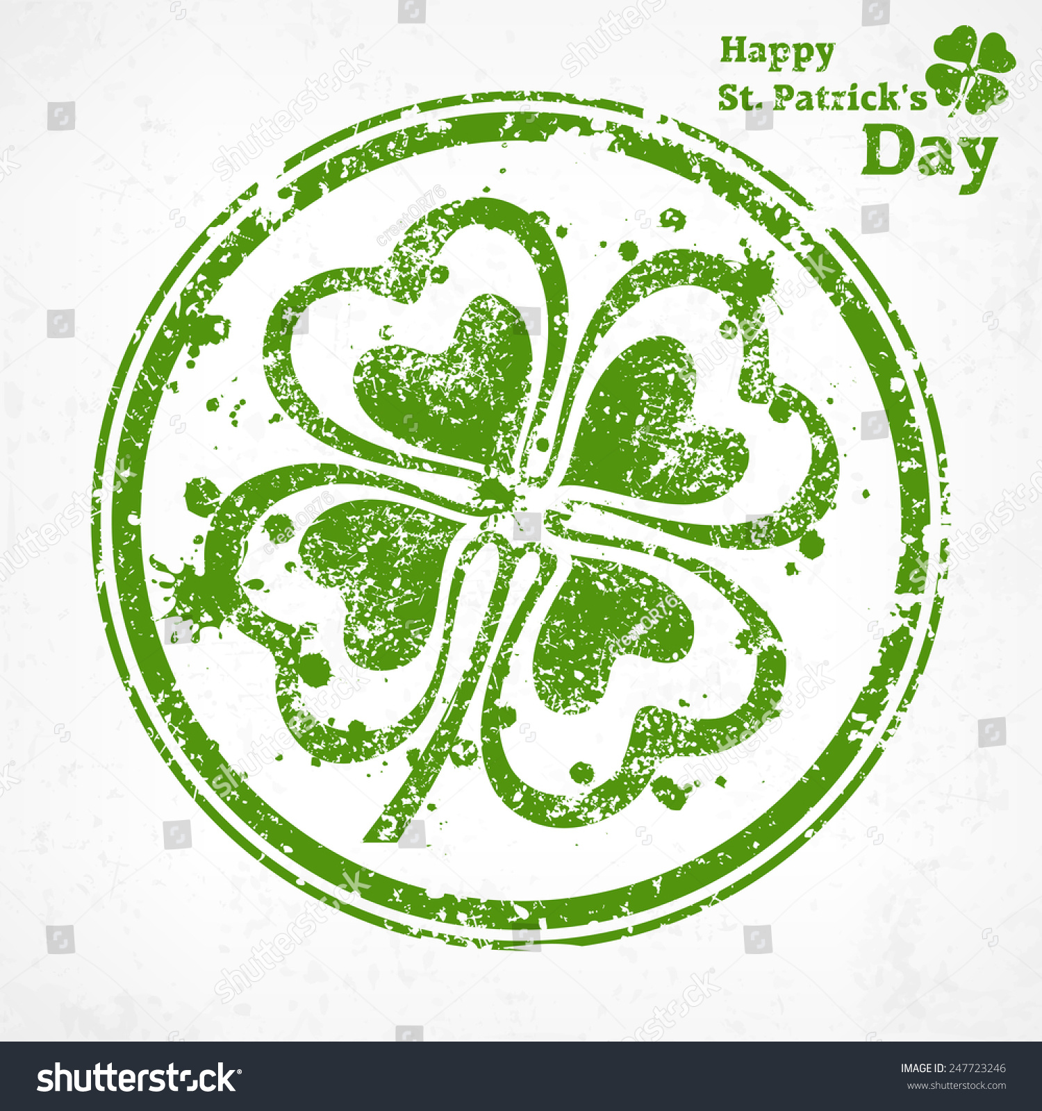four leaf clover grunge round vector stock vector 247723246