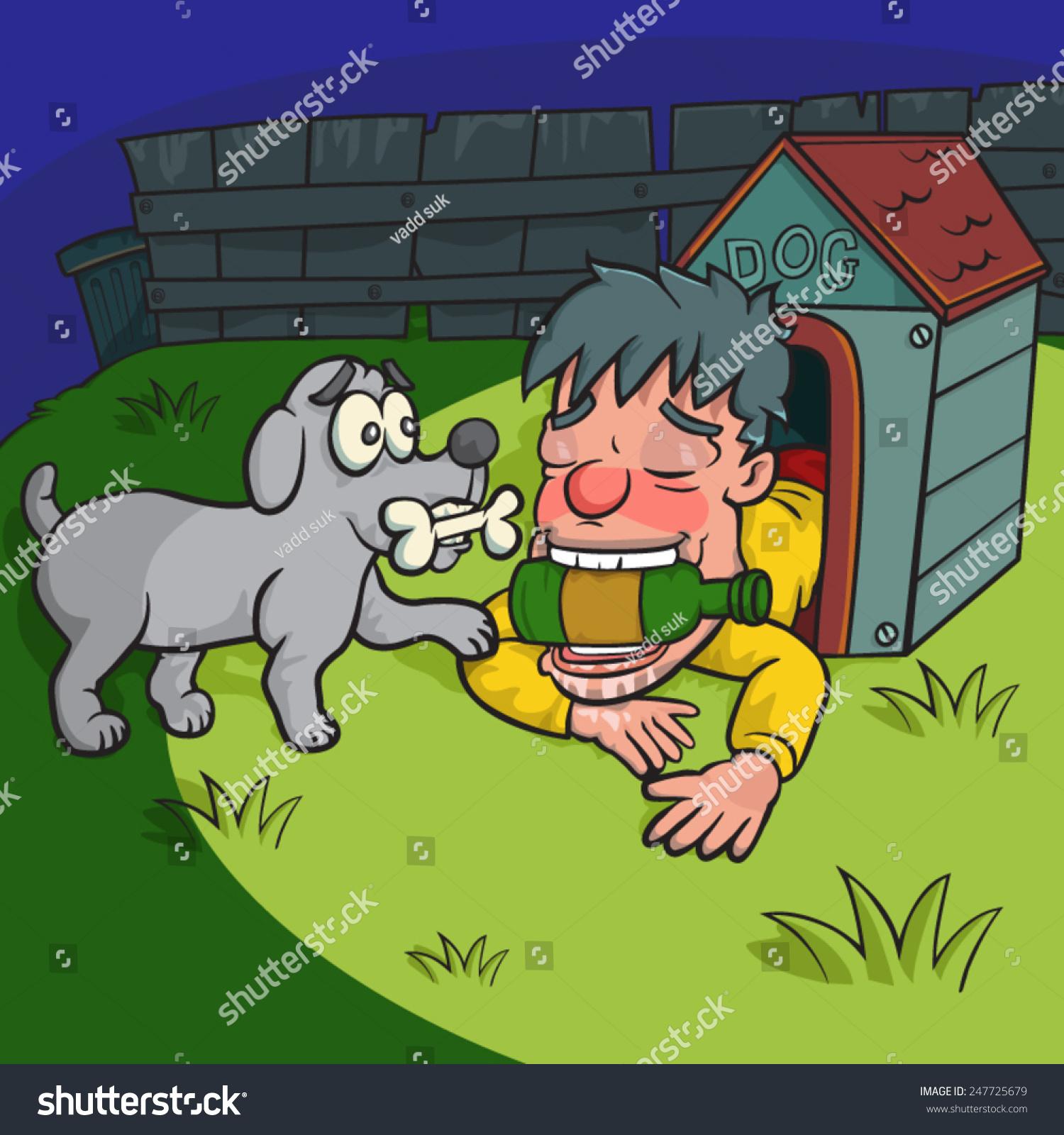 Drunk Man Sleep With Dogvector
