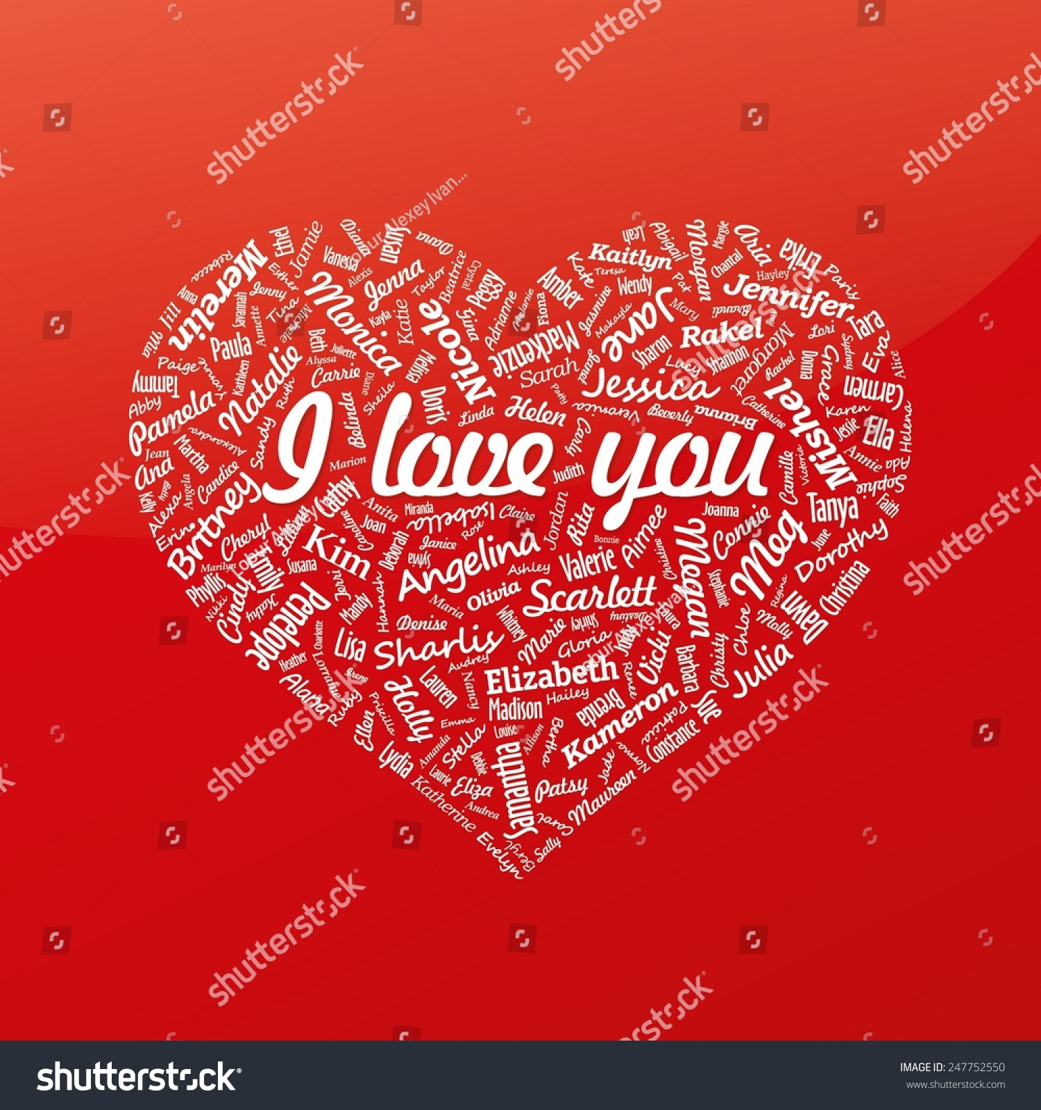 heart from famous womans names with title valentines day vector - Valentines Names