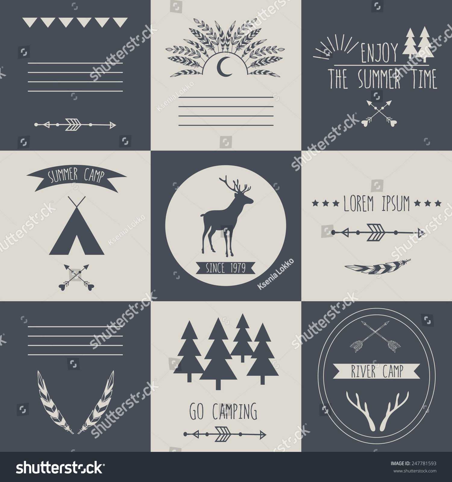 Set Vintage Camping Outdoor Activity Logos Stock Vector (Royalty ...