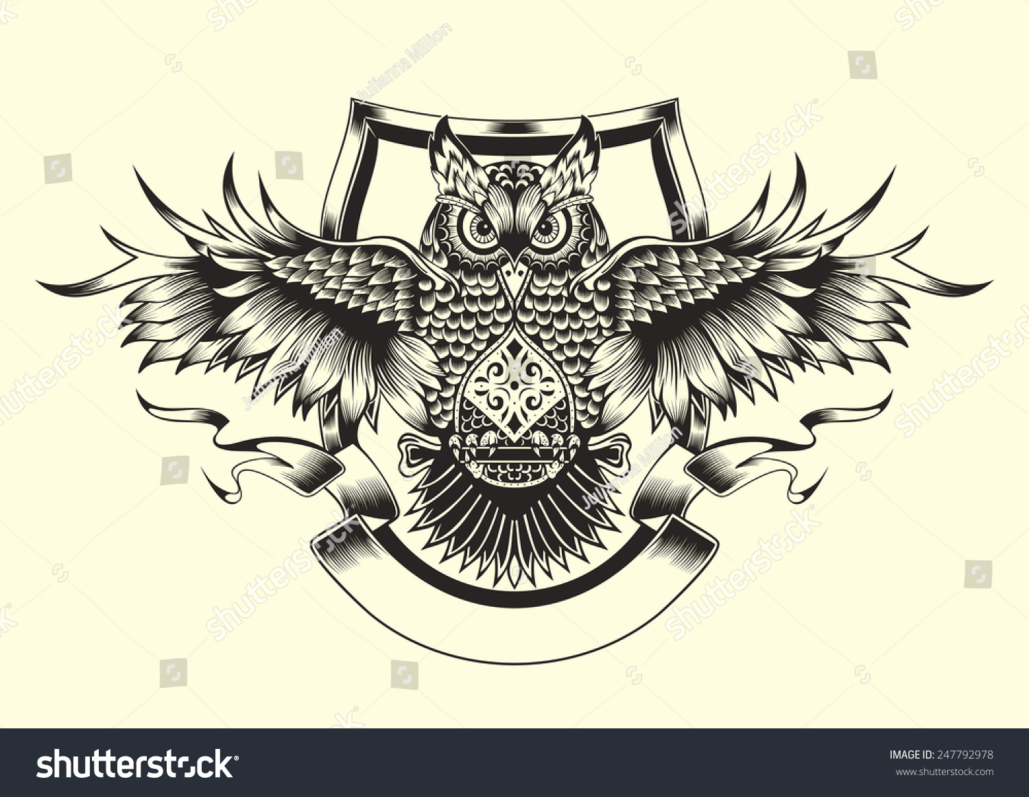 illustration owl black white style stock vector 247792978