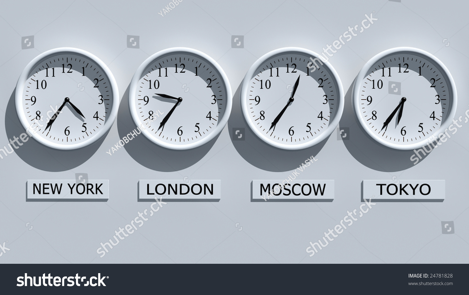 Timezone Clocks Showing Different Time Stock Photo