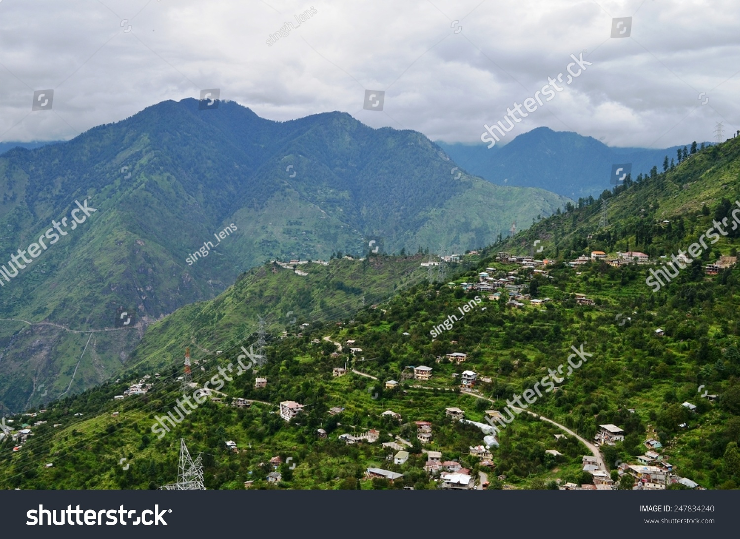 natural green scenery background himachal pradesh stock photo