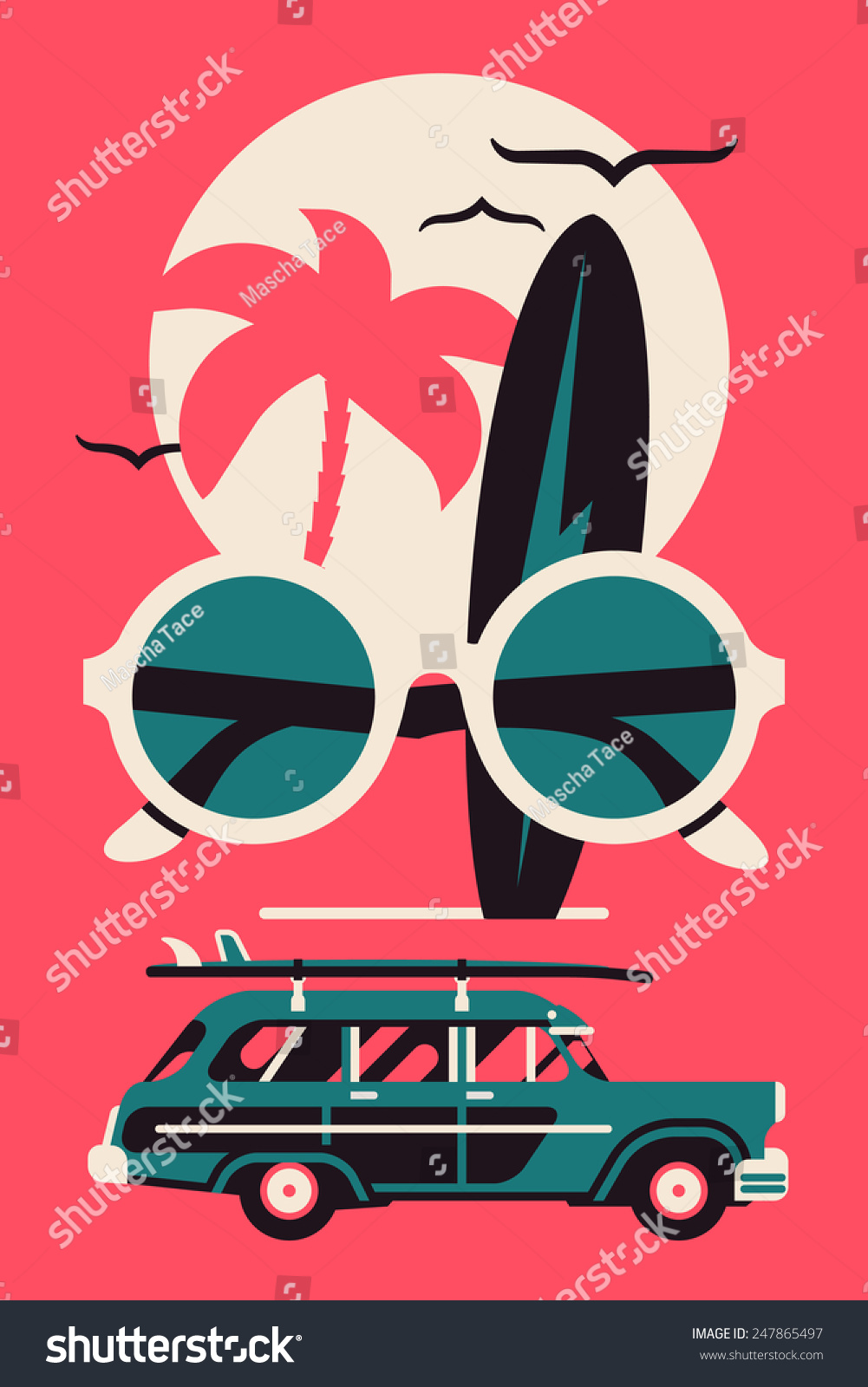 Poster design vector graphics - Vector Modern Flat Wall Art Poster Design On Hot Summer Vacation Beach Recreation Water