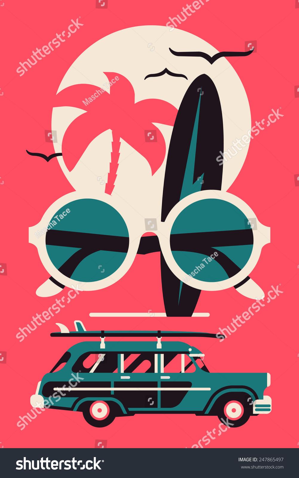 Poster design vector graphics - Vector Modern Flat Wall Art Poster Design On Hot Summer Vacation Beach Recreation Water