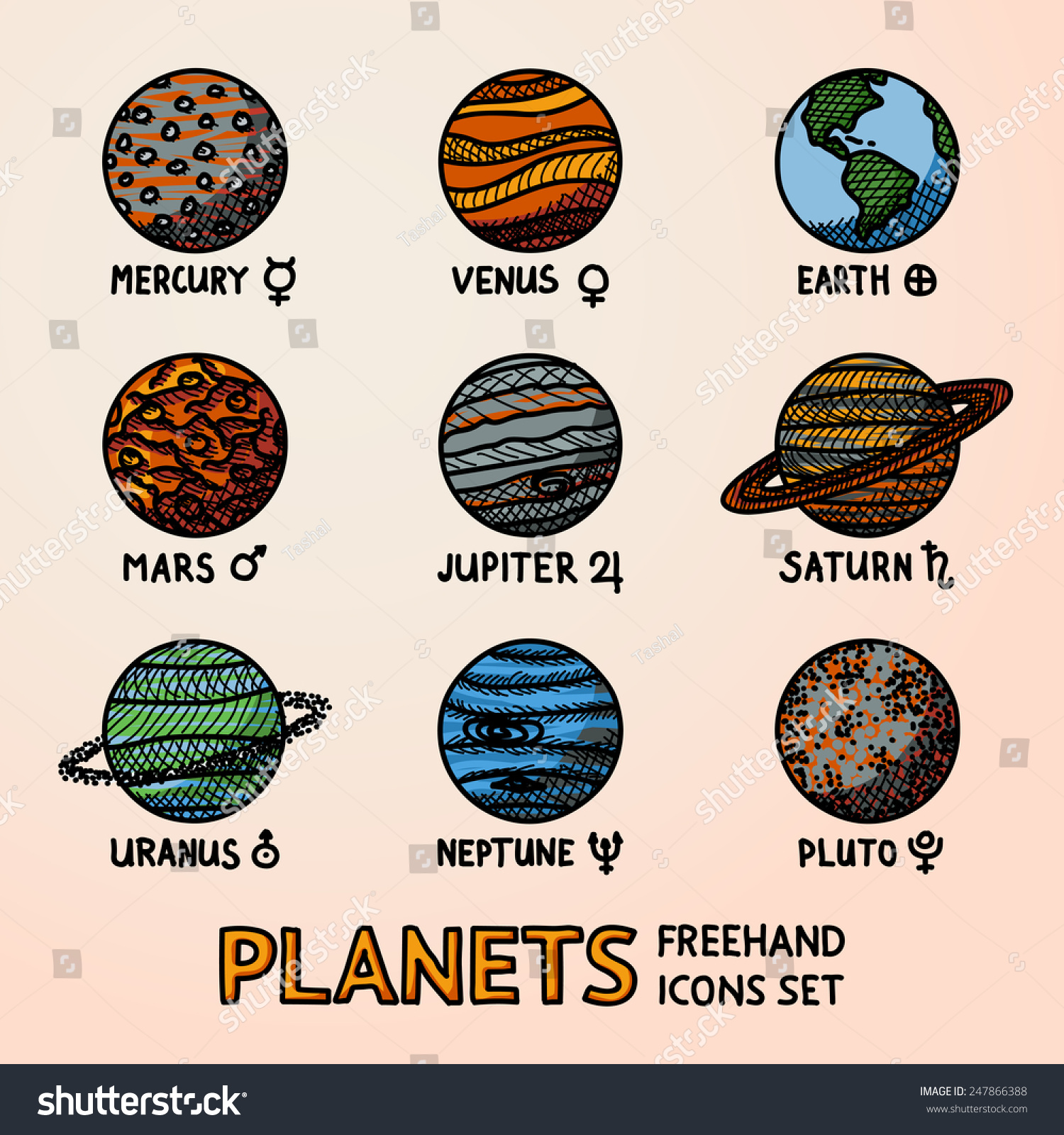 Set Of Color Hand Drawn Planet Icons With Names And ...