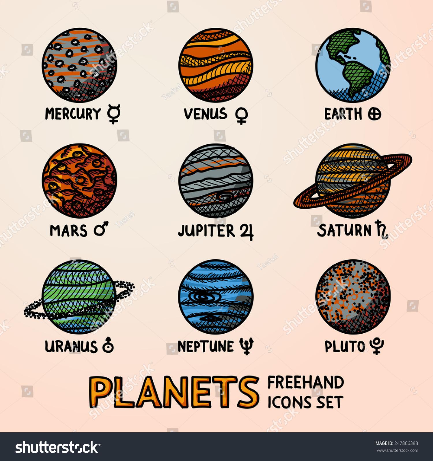 Set color hand drawn planet icons stock vector 247866388 set of color hand drawn planet icons with names and astronomical symbols mercury venus buycottarizona Choice Image