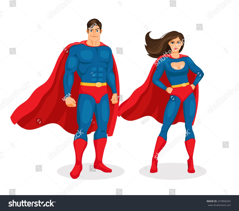 Illustration superman and superwoman isolated on white background. Vector Superhero Couple  sc 1 st  Shutterstock & Illustration Superman Superwoman Isolated On White Stock Photo ...