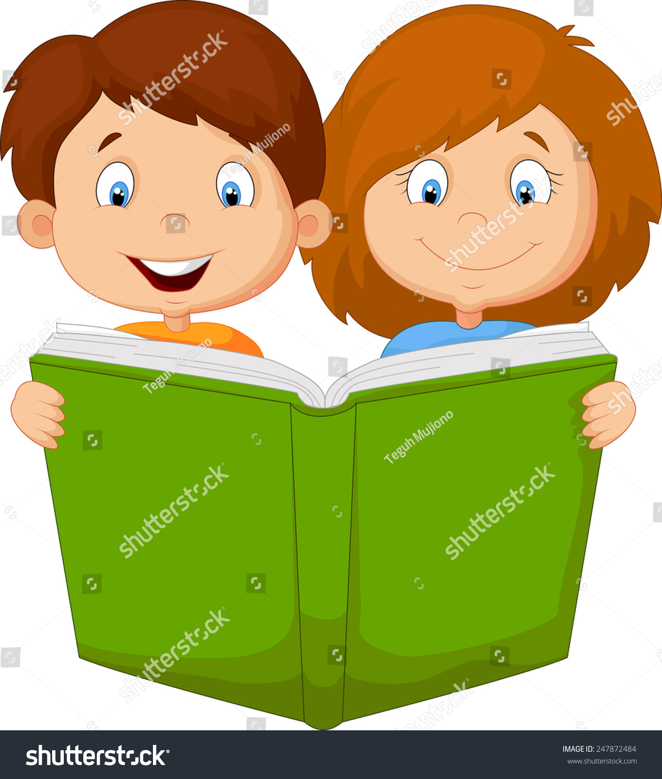 cartoon boy girl reading book stock illustration 247872484