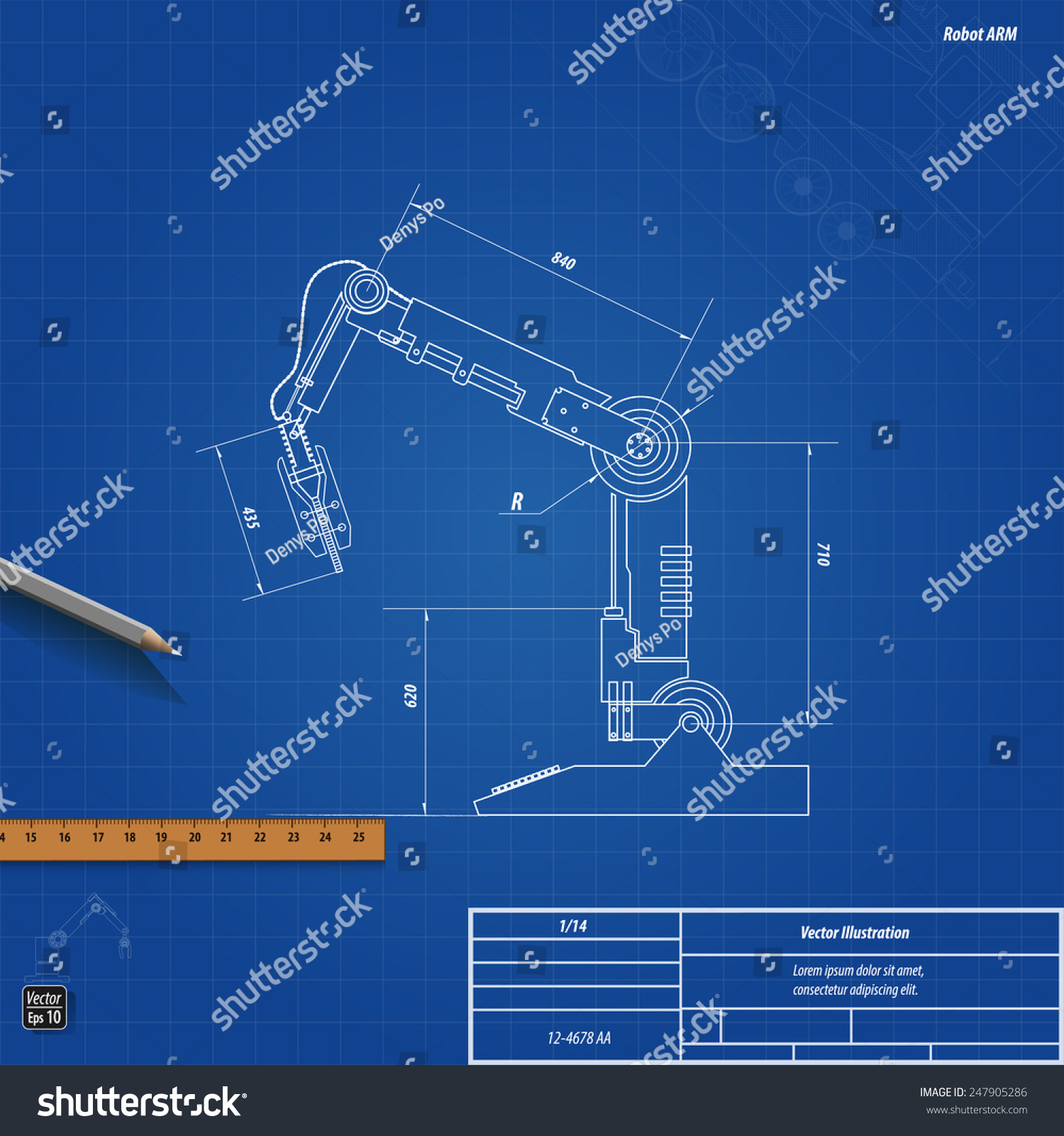 Blueprint Robotic Arm Vector Illustration Eps 10