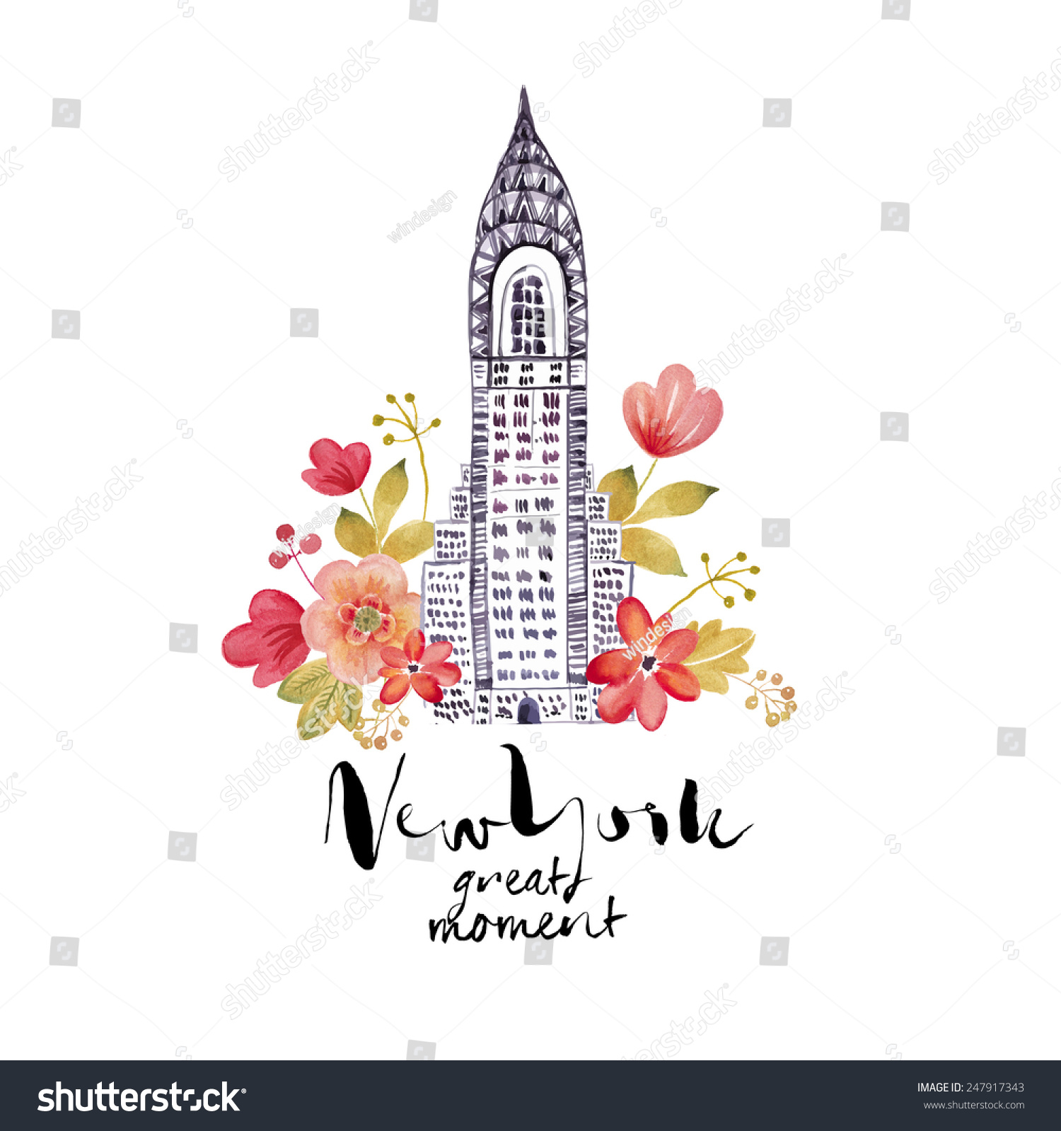 Watercolor New York: New York City Watercolor Illustration Nyc Stock