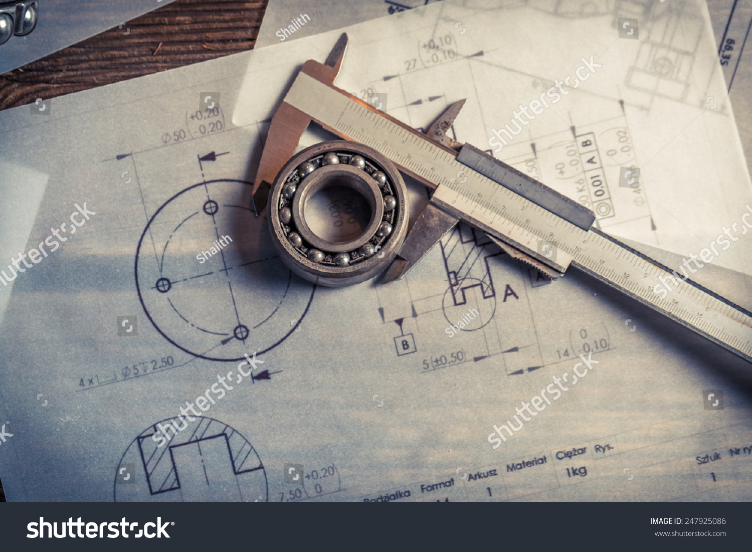 Bearing Calipers Mechanical Diagrams Stock Photo 247925086