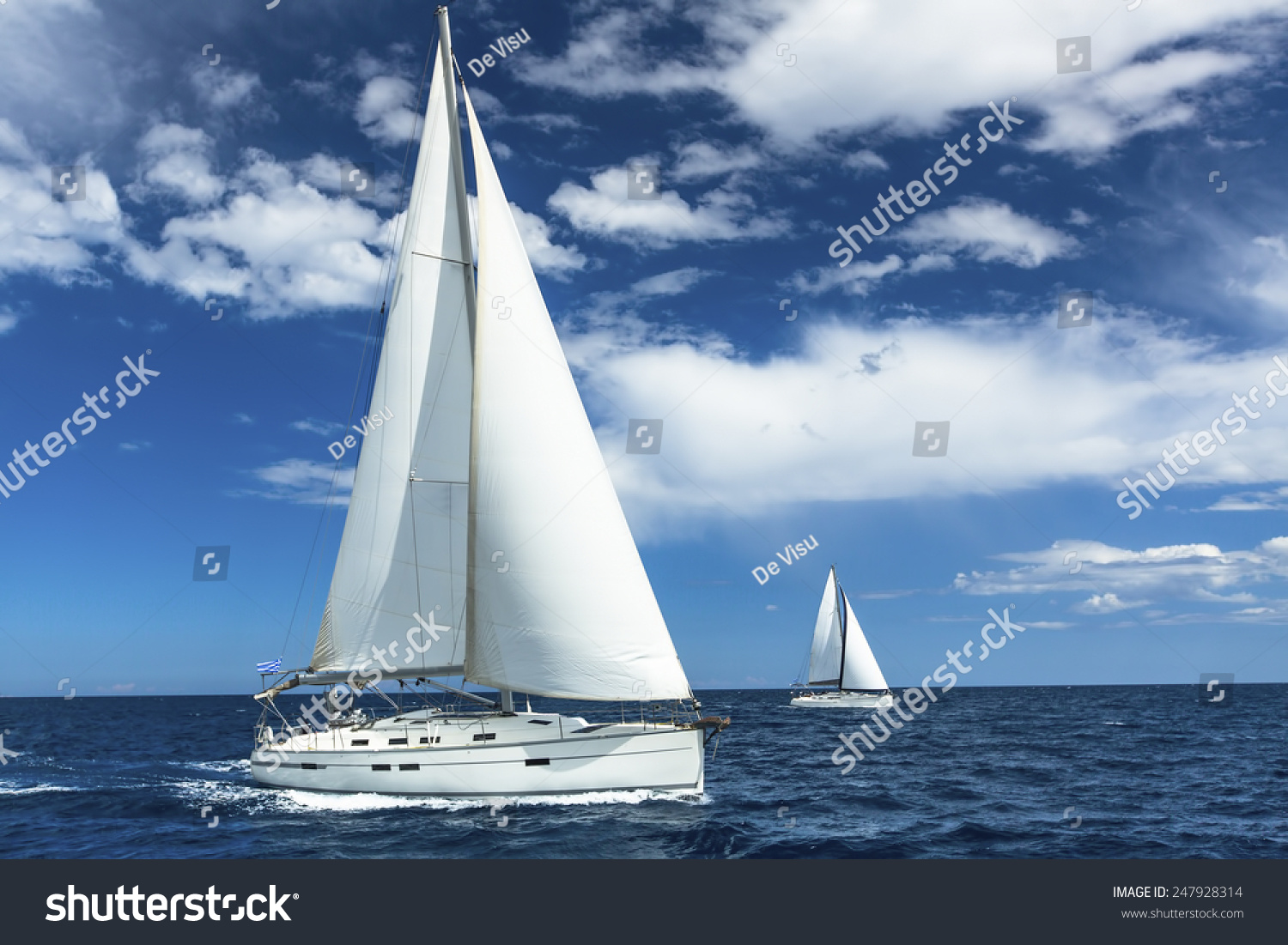 Sailboats participate in sailing regatta Sailing Yachting Luxury Yachts