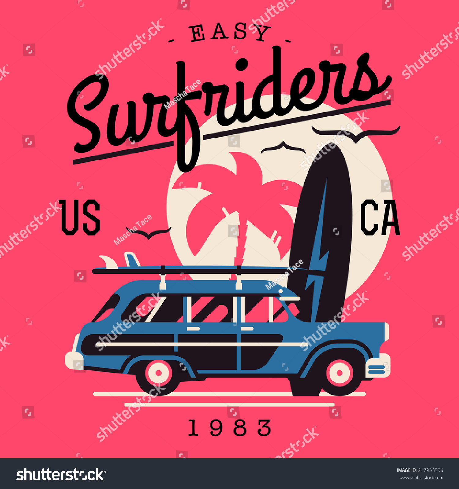 Vector tshirt printable wall art graphics stock vector for Designers art of california