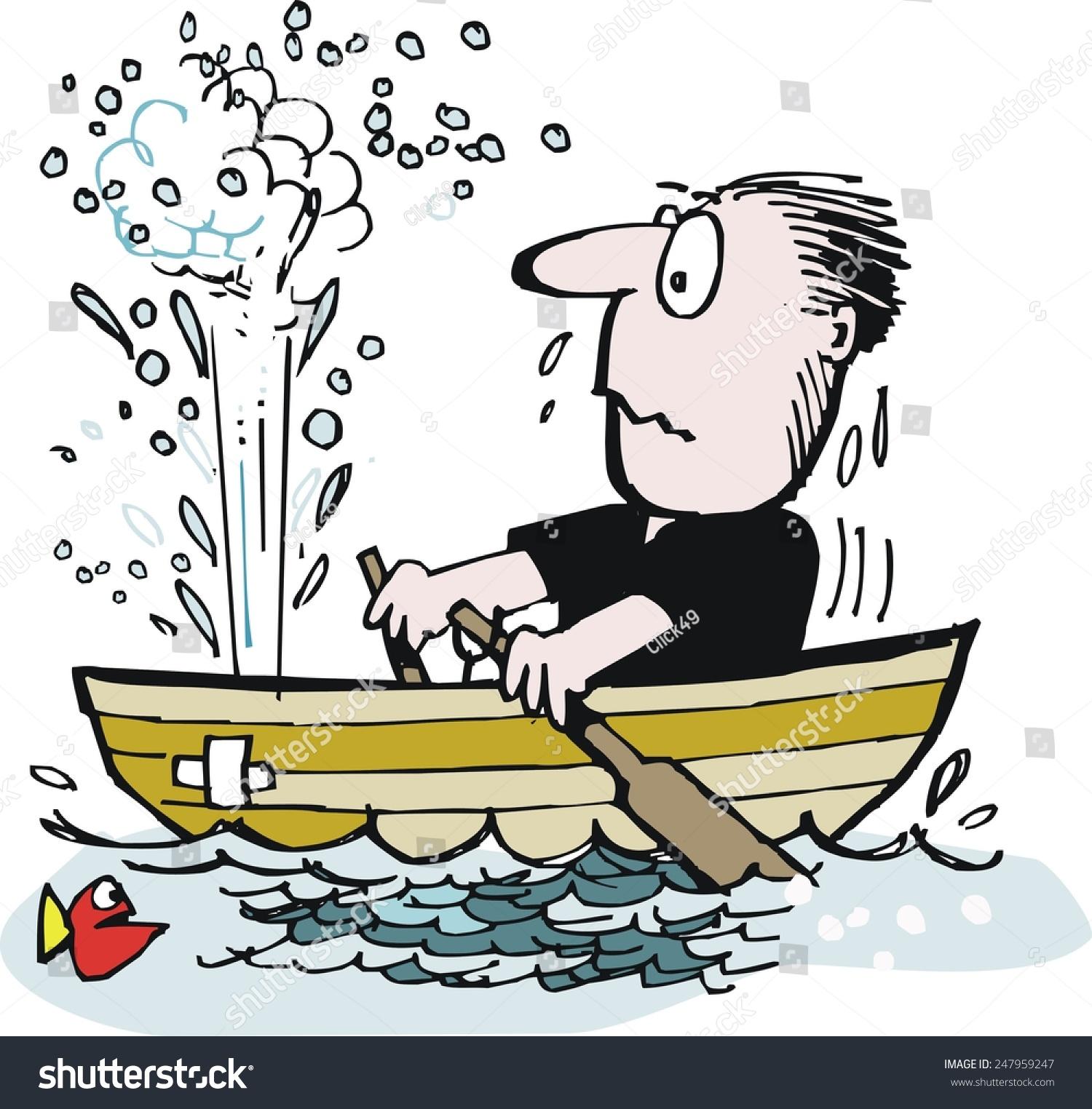 Vector cartoon of man trying to row leaky boat in ocean