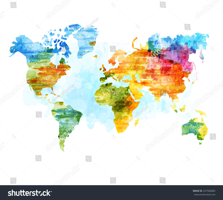 World Map Watercolor Vector Illustration Stock Vector 247966885 Shutterstock