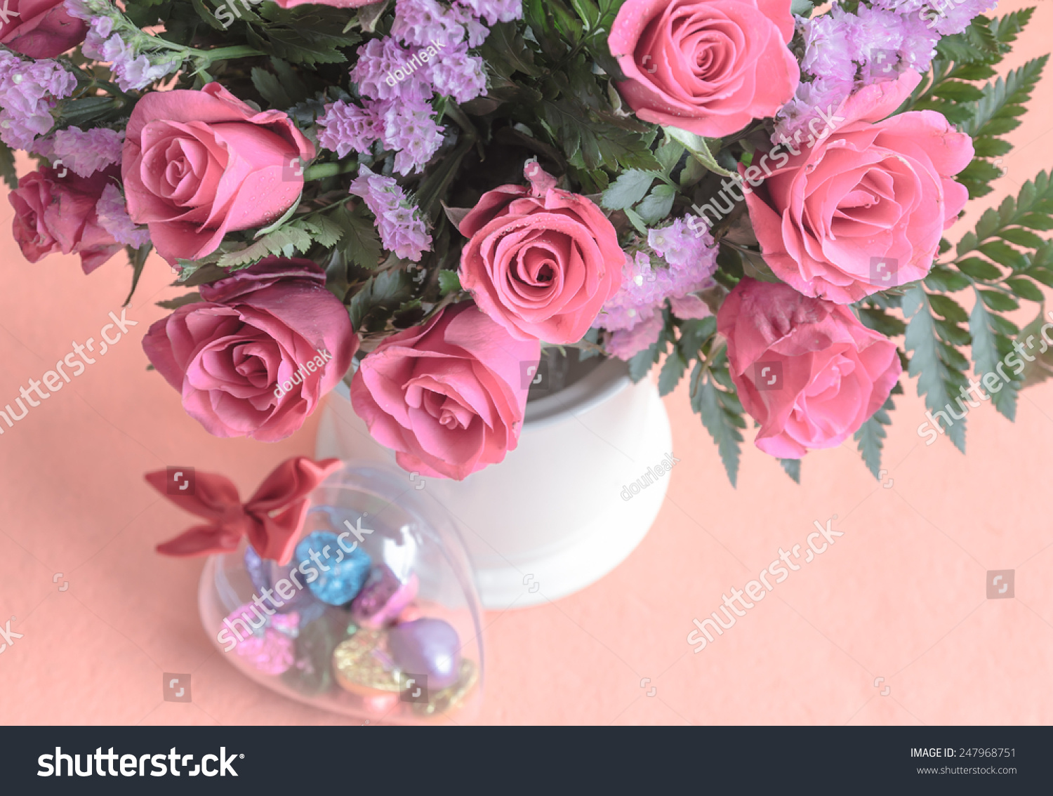 Chocolate Candy Shape Hearts Pink Roses Stock Photo Royalty Free