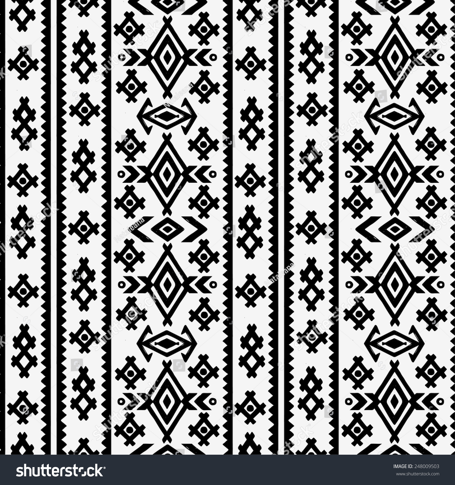 Aztec Tribal Art Seamless Pattern Black Stock Vektor ...