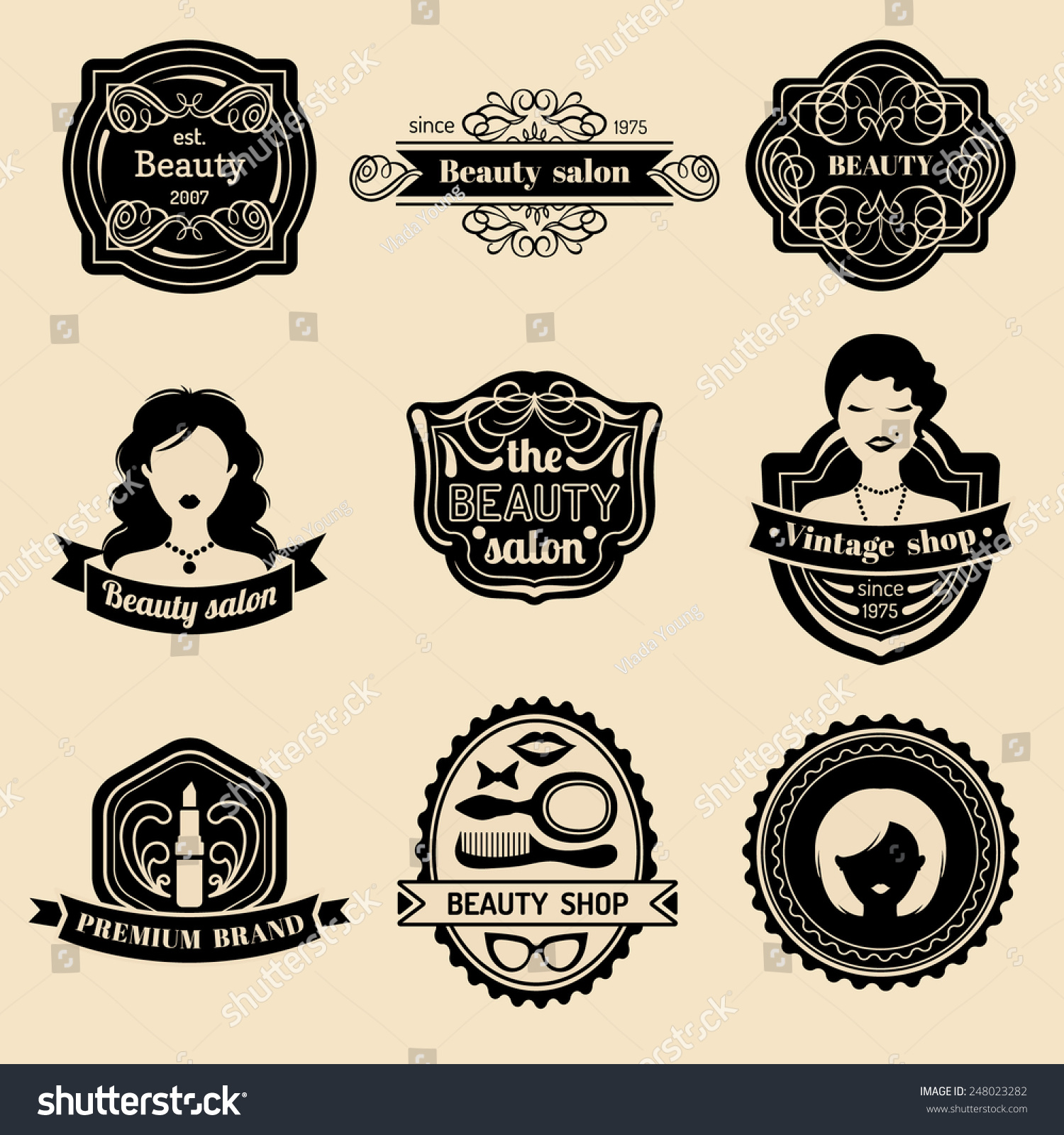 Vector Set Of Hipster Woman Logo Beauty Salon Or Vintage Shop Retro Icons Collection