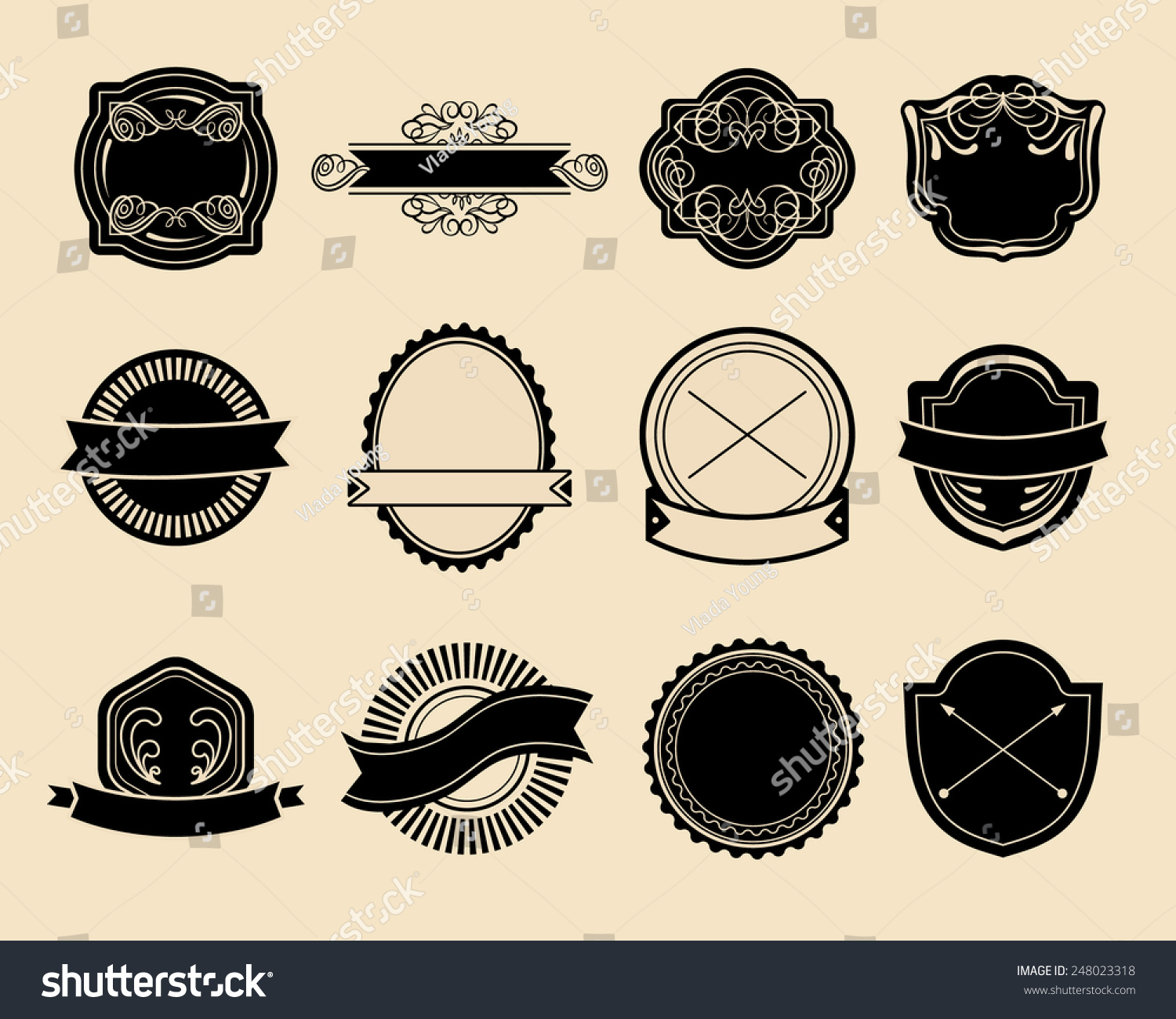 big vector set vintage labels hipster stock vector 248023318 shutterstock. Black Bedroom Furniture Sets. Home Design Ideas