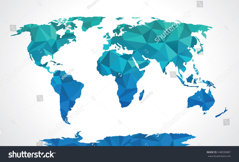 Blue polygonal world map vector stock vector 248030887 shutterstock blue polygonal world map vector gumiabroncs Choice Image