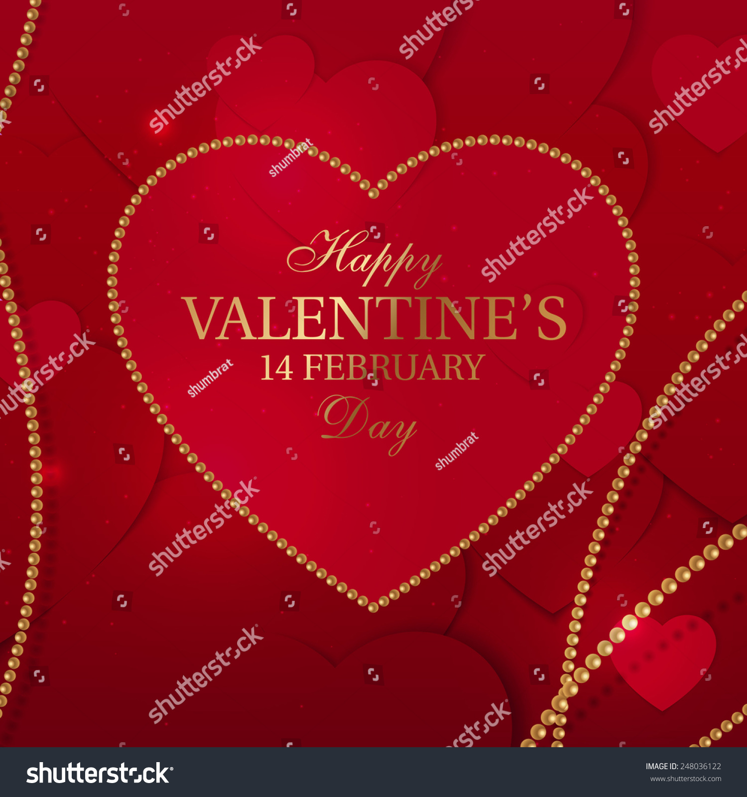 Happy Valentine Day Greeting Card Design Stock Vector Royalty Free