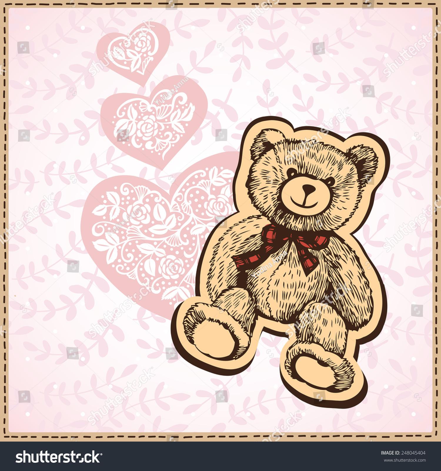 Card Valentines Day Hearts Teddy Bear Stock Vector 248045404