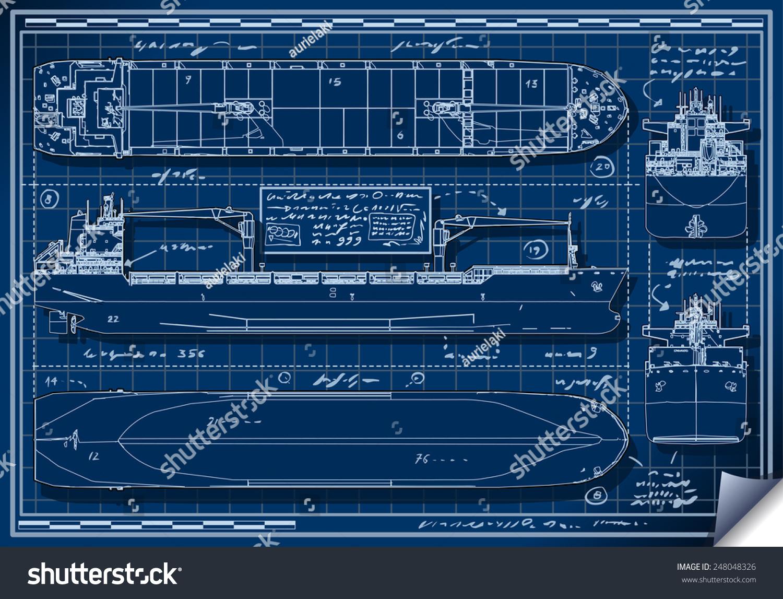 Orthogonal blue print of a cargo ship illustrazione for Generatore di blueprint gratuito
