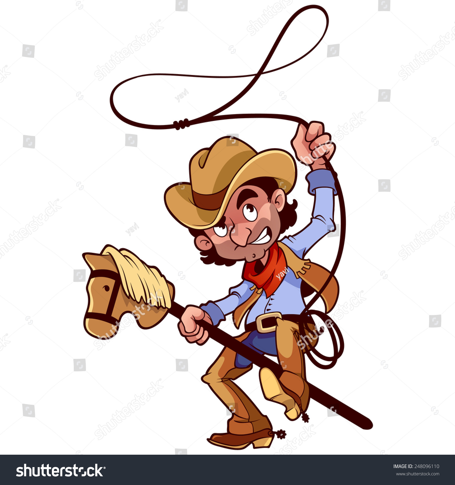 Funny Character Cowboy Lasso On Stickhorse Stock Vector 248096110 ...