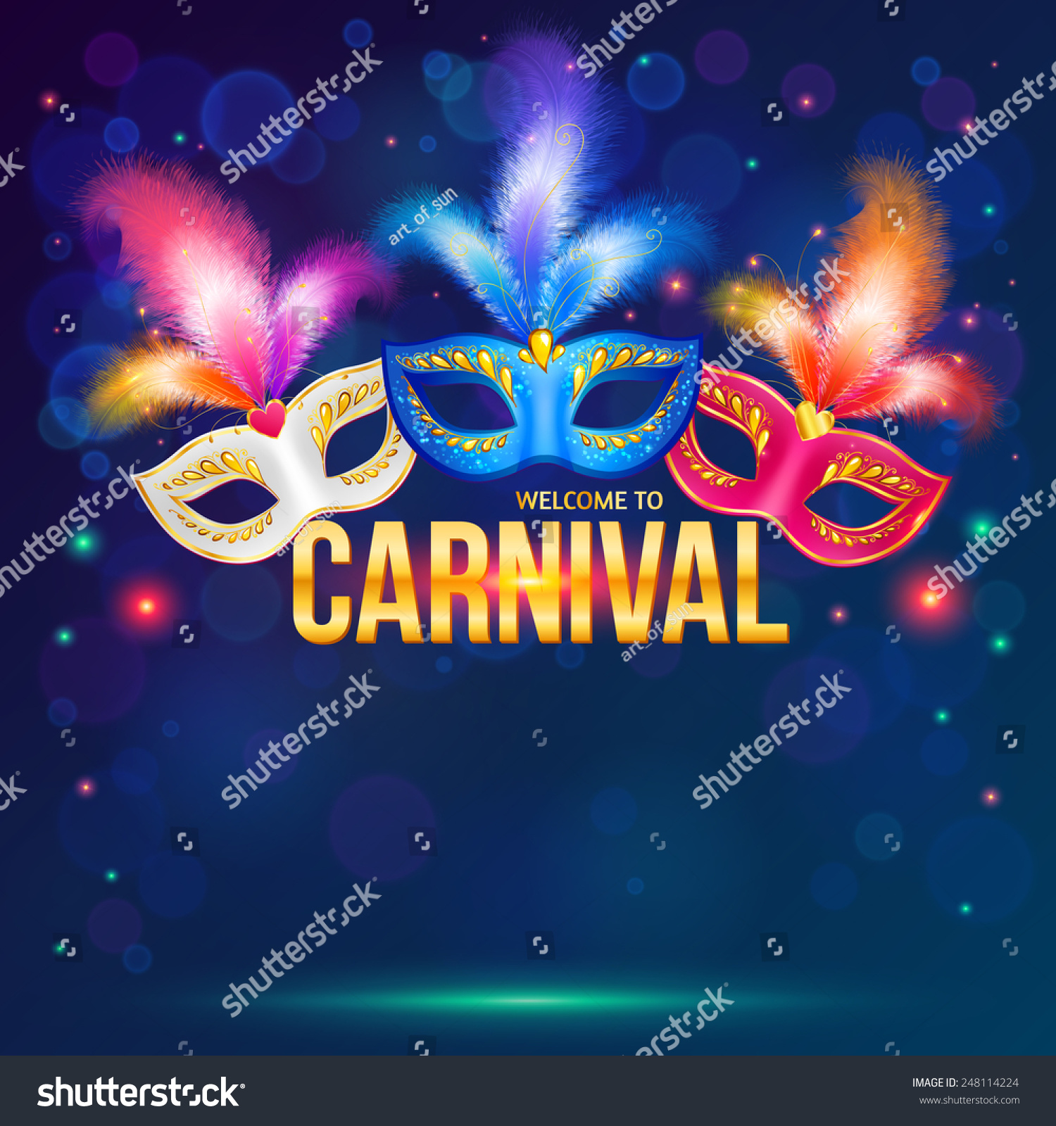 Bright carnival masks on dark blue background, vector flyer template ...