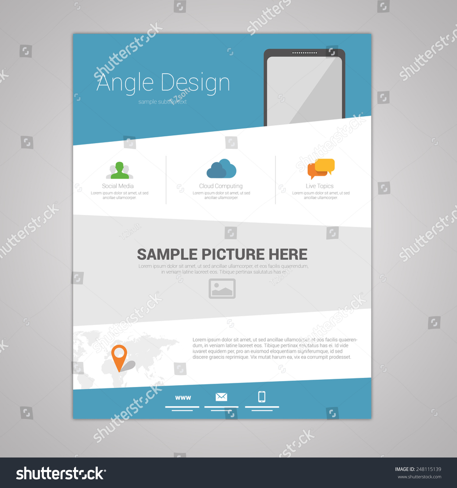 flat angle design newsletter template stock vector