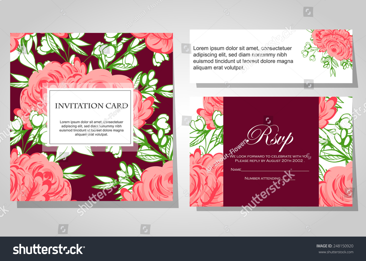 Wedding invitation cards with floral elements | EZ Canvas