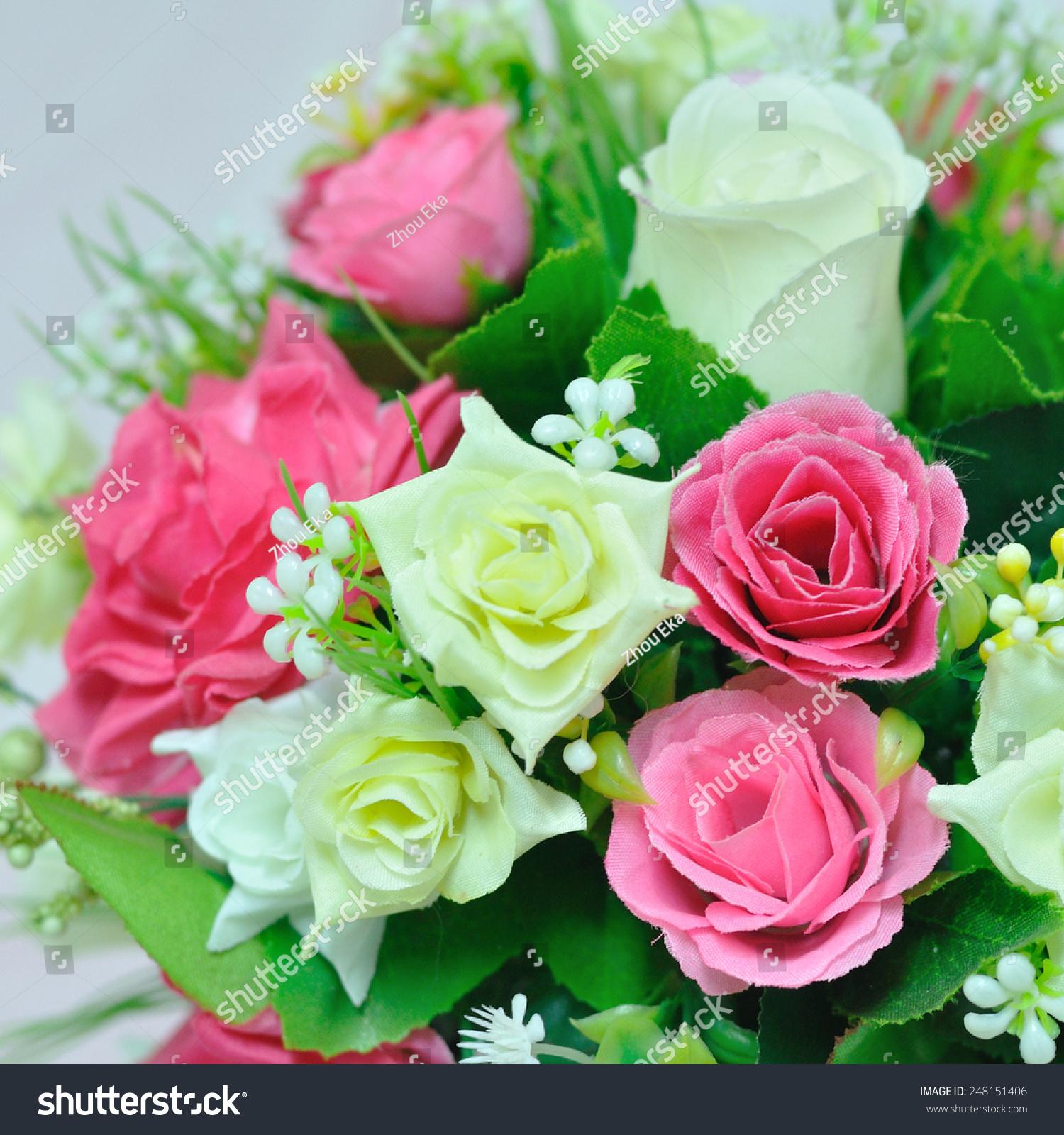 Beautiful flowers basket on table stock photo royalty free beautiful flowers in basket on table izmirmasajfo