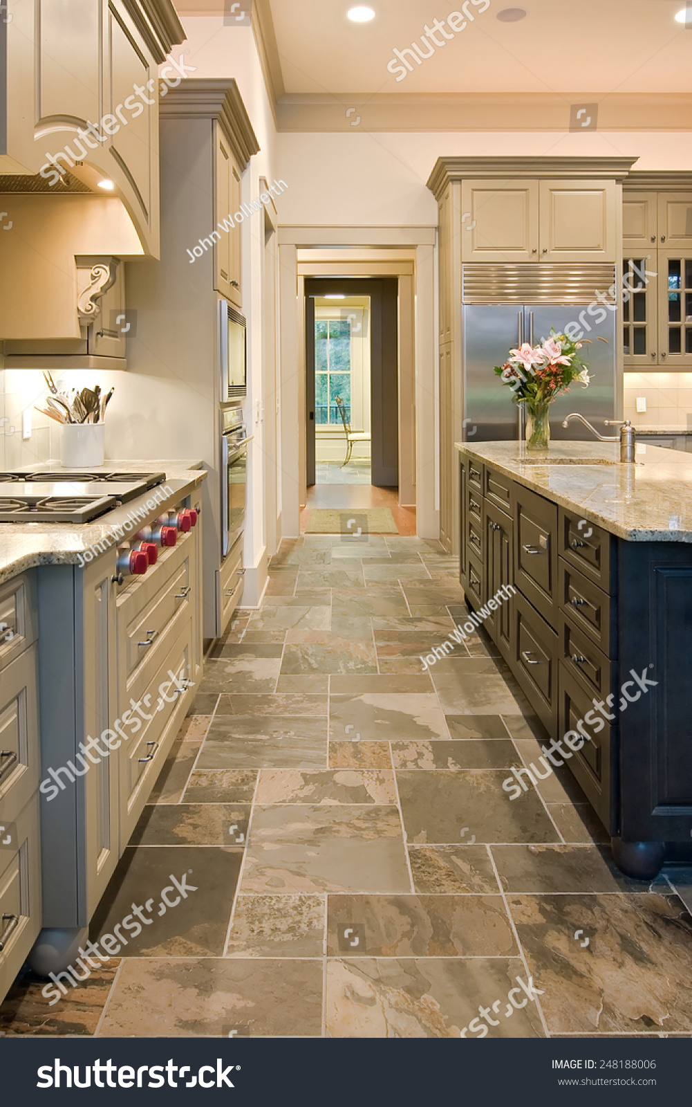 Expensive Kitchen Slate Floors Mixed Wood Stock Photo (Edit ...
