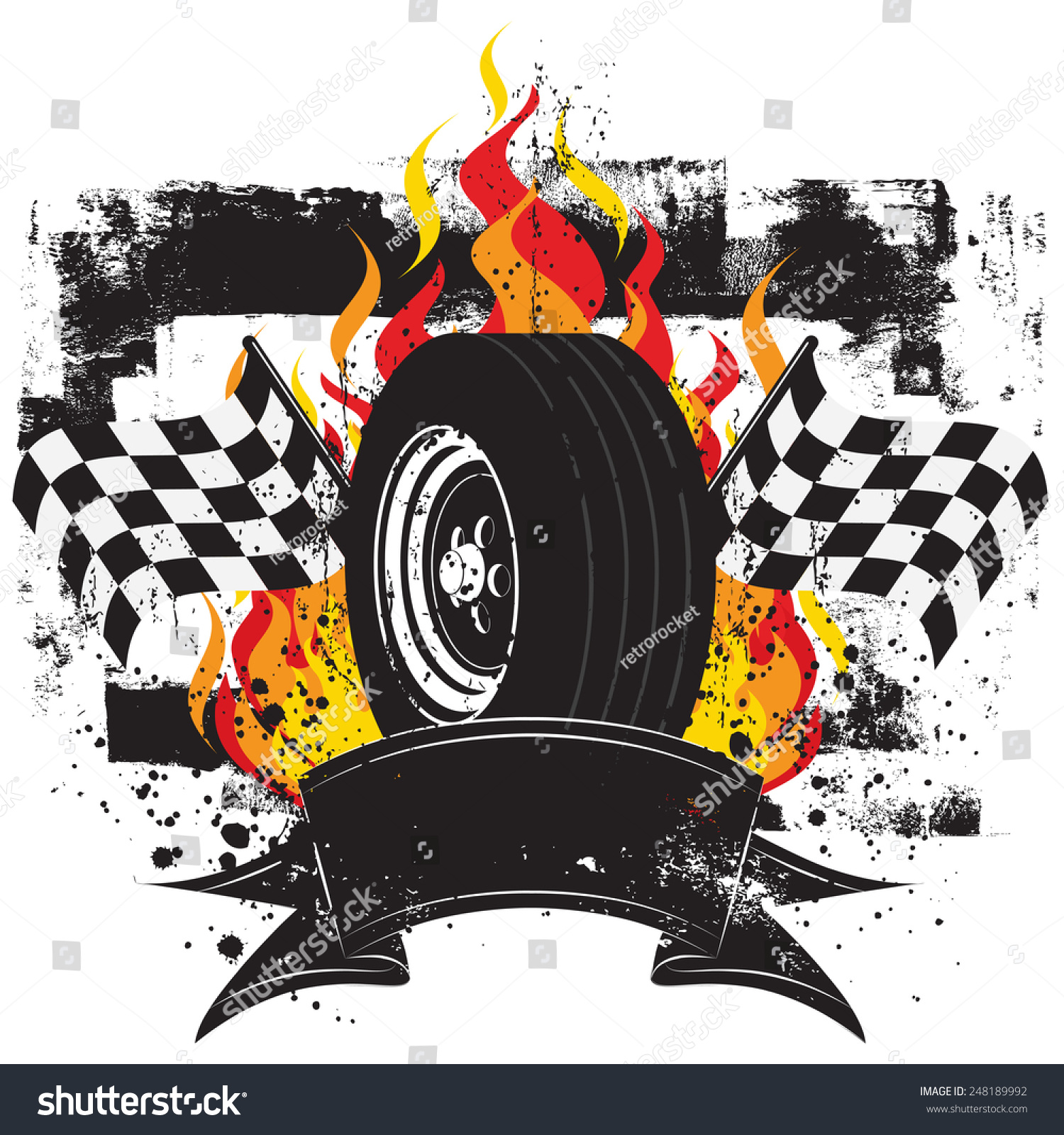 Racing Insignia Race Car Tire Front Stock Vector 248189992 ... for Racing Tire Vector  195sfw