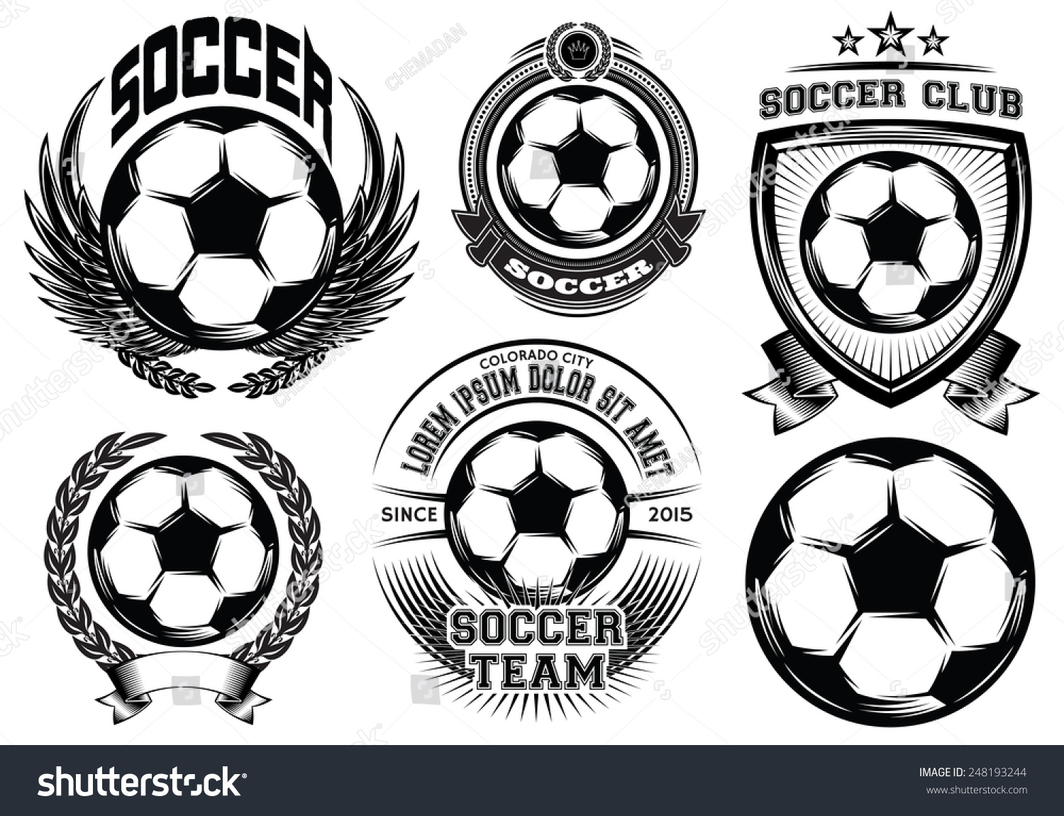 Set Soccer Football Badge Logo Design Stock Illustration 248193244