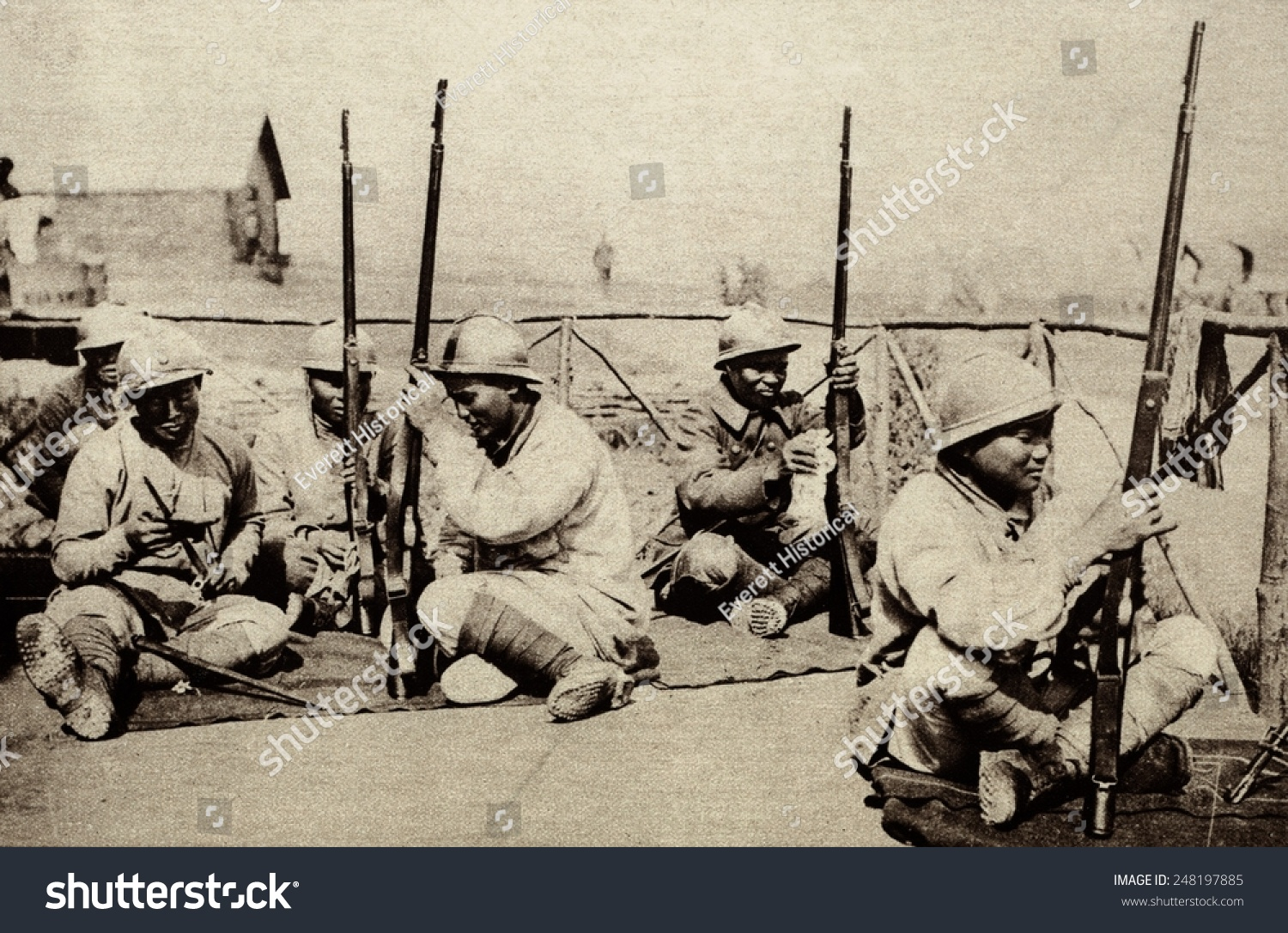 Indochinese Annamese Region Serving Soldiers France Stock