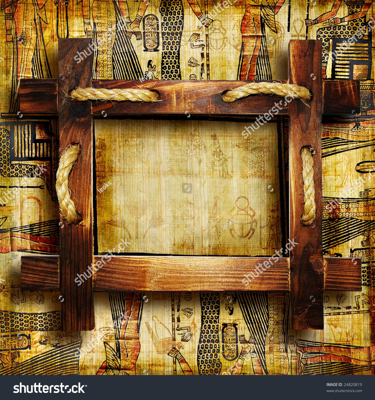 Old Egyptian Background Rustic Wooden Frame Stock Illustration ...