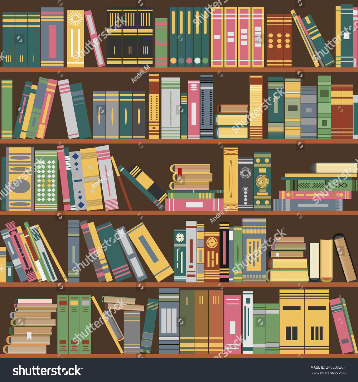 Library Bookshelf Books On Shelves Library Stock Vector
