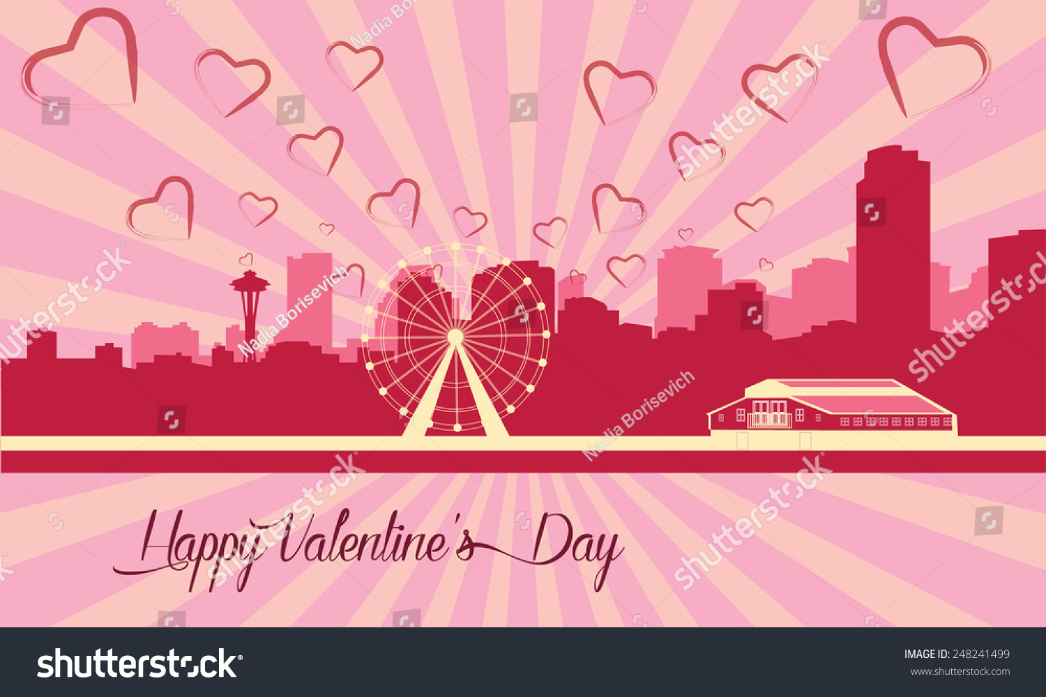 seattle skyline with great wheel valentines day card rays on the background