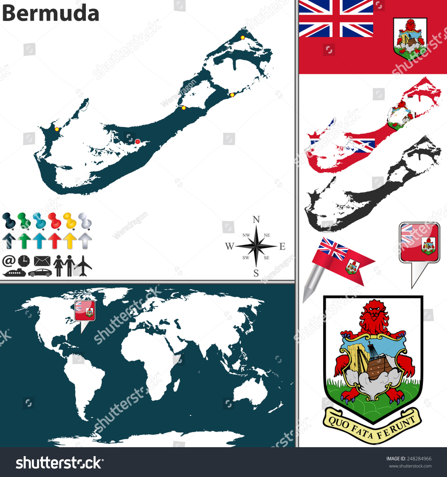 Vector Map Bermuda Coat Arms Location Stock Vector - Location of bermuda on world map