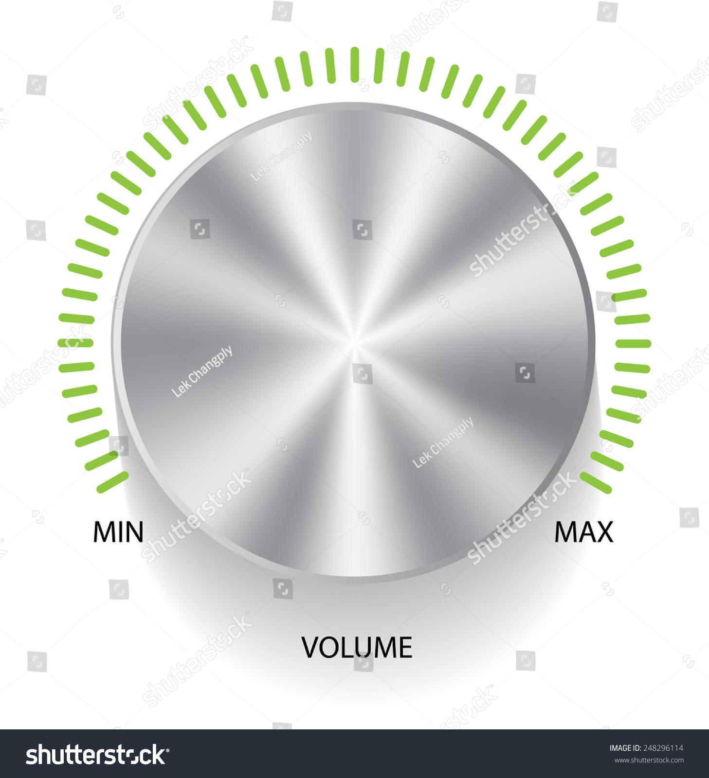 Volume Control Button : Metallic volume control button with scale vector