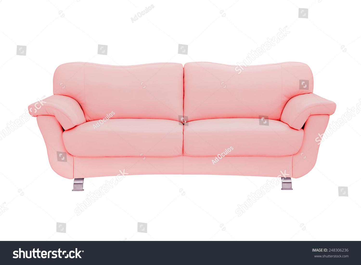 Pink Leather Sofa Isolated White Stock