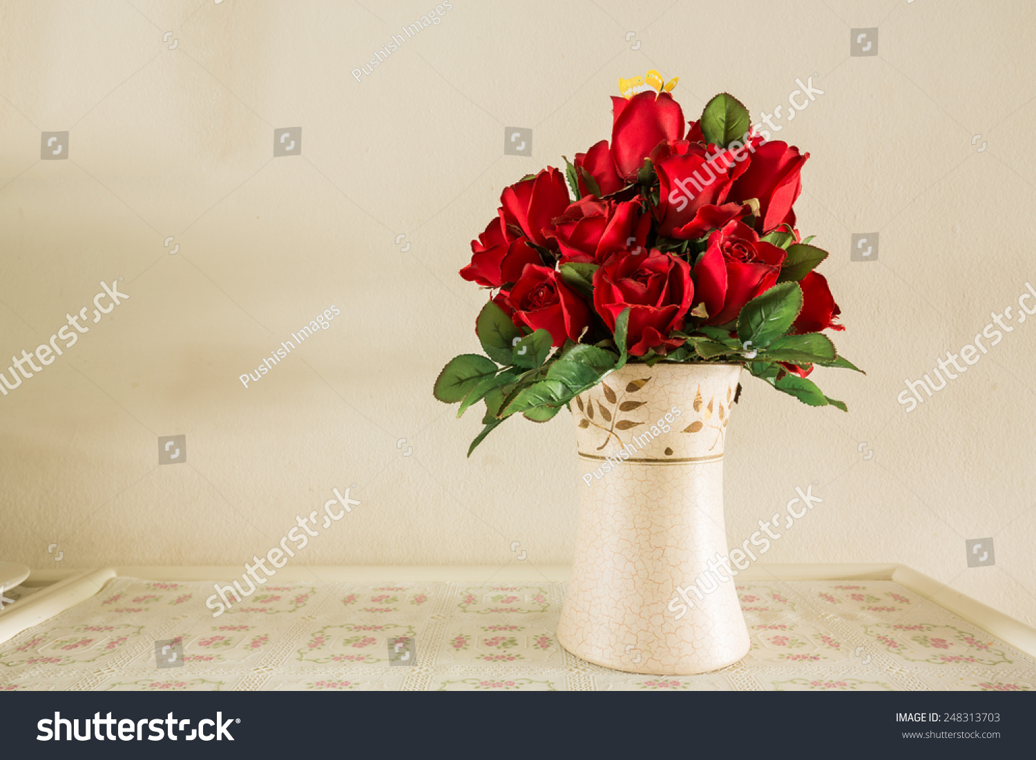 Bouquet red roses flower vase stock photo 248313703 shutterstock bouquet of red roses flower in vase reviewsmspy