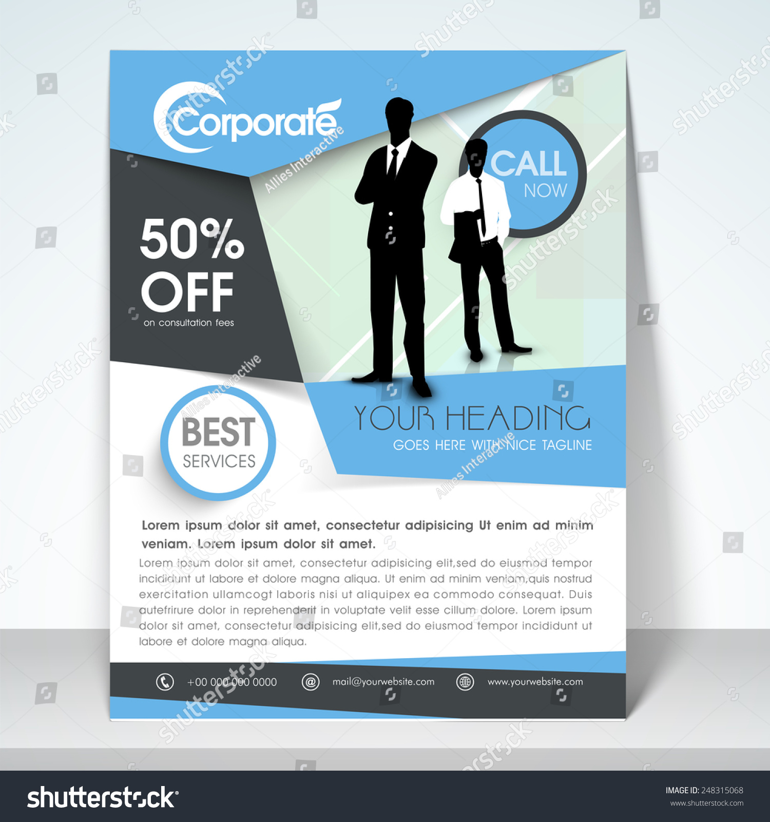 Professional Corporate Business One Page Flyer Stock Vector ...
