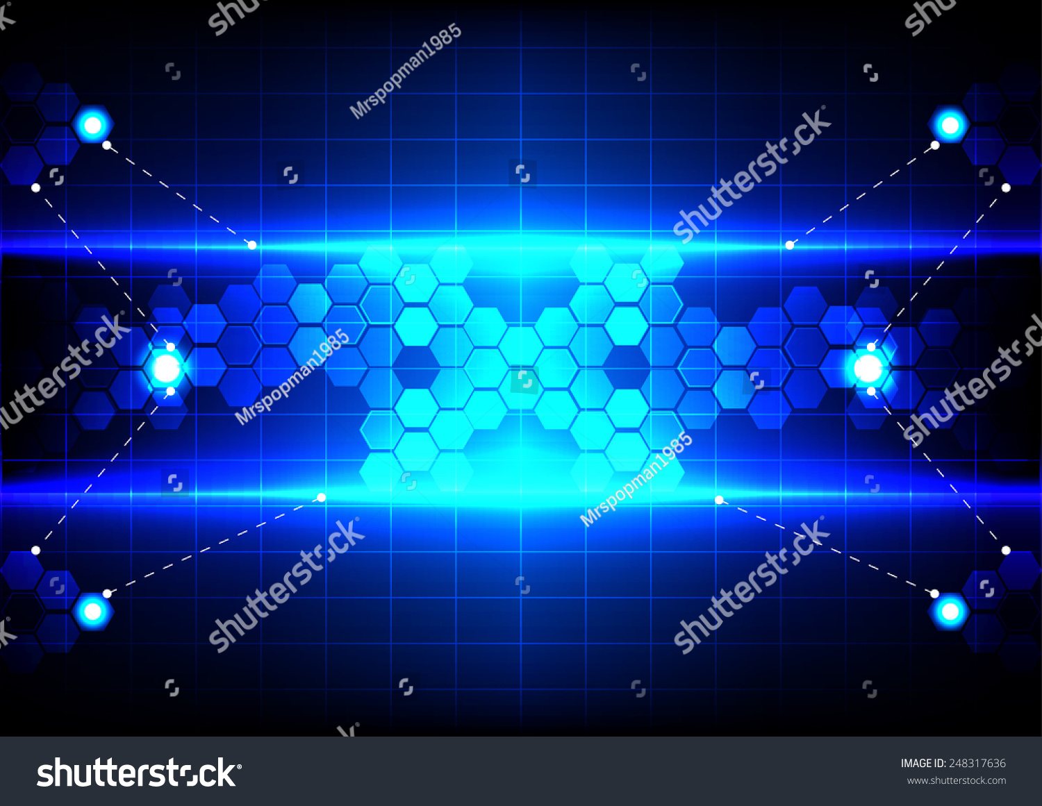 Abstract Technology Background With Light Effect: Abstract Hexagon Light Blue Effect Technology Stock Vector