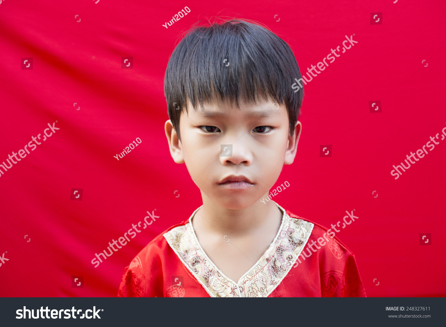 China boy traditional chinese red tang stock photo edit now china boy in traditional chinese red tang suit greeting m4hsunfo