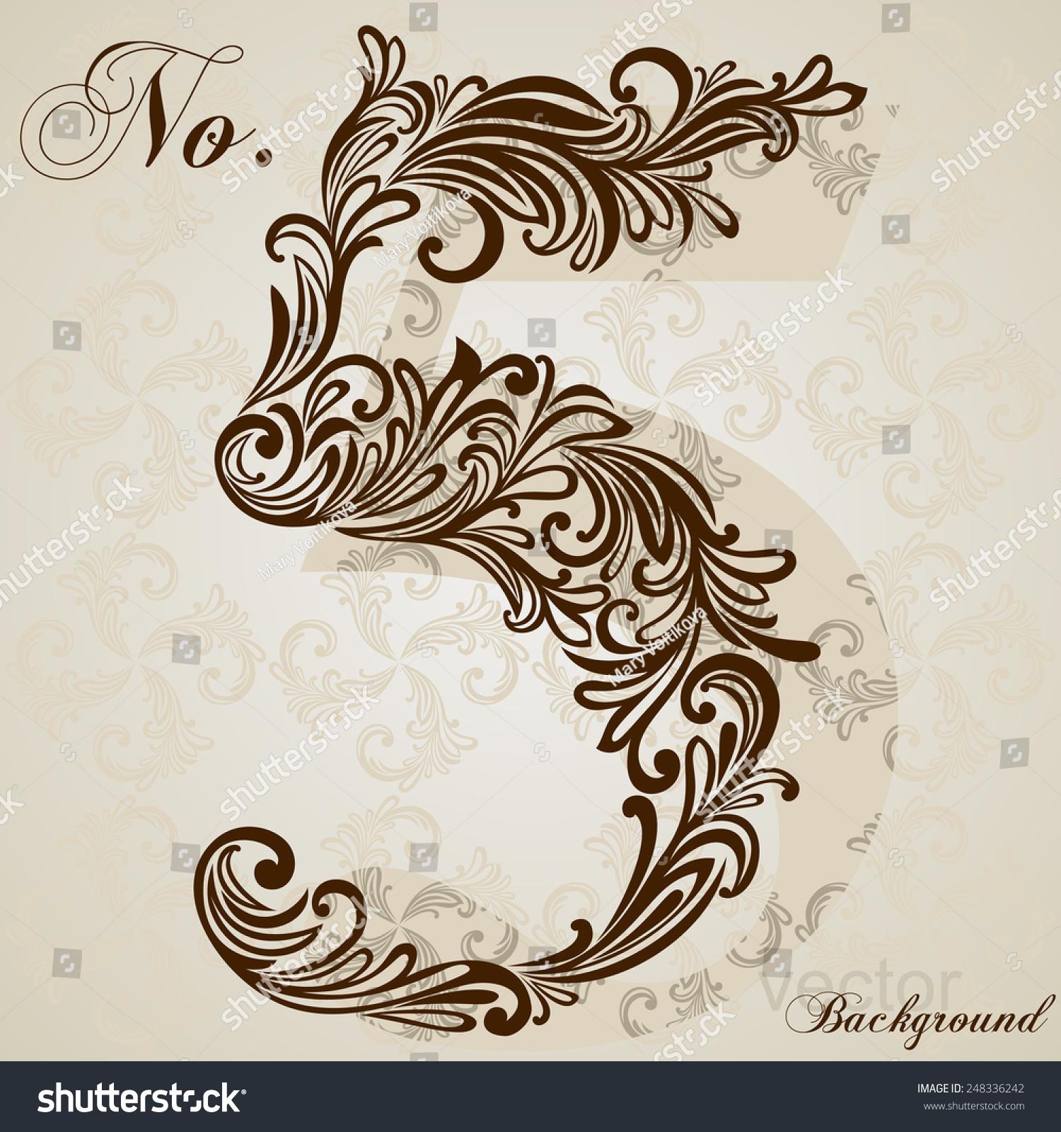 Calligraphic font number five vector design stock