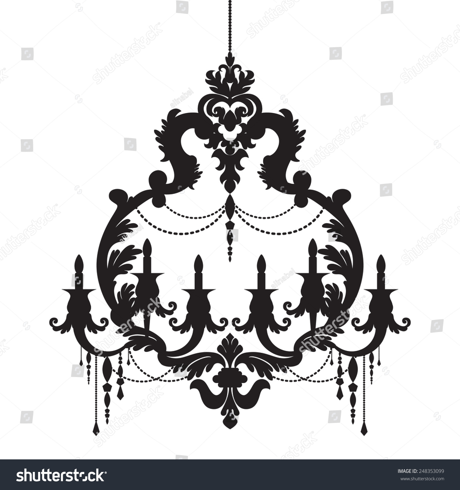 Chandelier Silhouette Isolated White Background Stock Vector